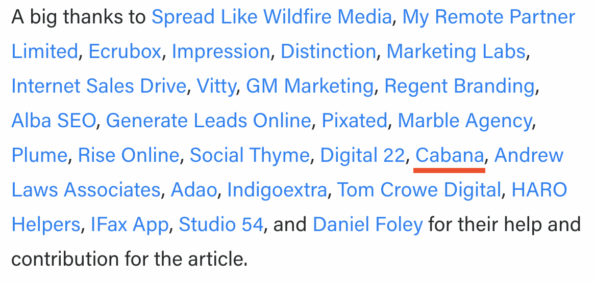 A screenshot from an Adzooma article, showing links to article contributors