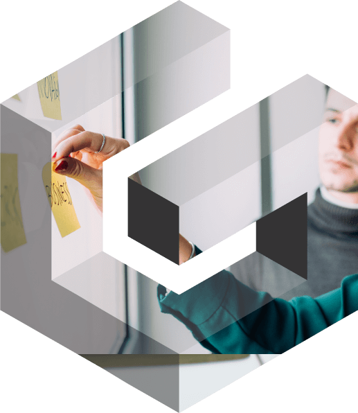 Brand logo with employee pinning work notes onto board