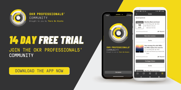 14 day free trial okr professional community sign up advertisement banner