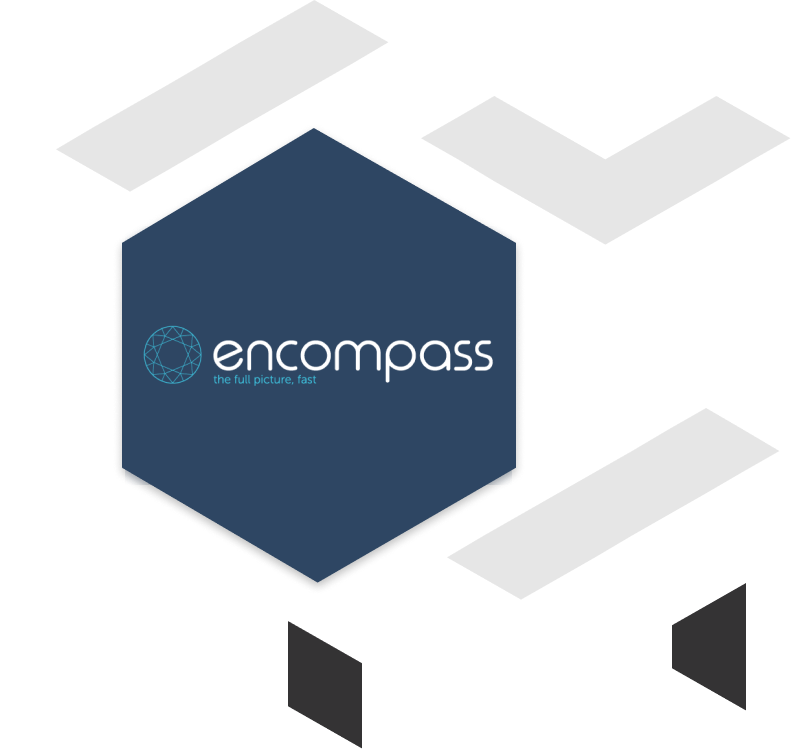 encompass client brand logo with geometric shapes