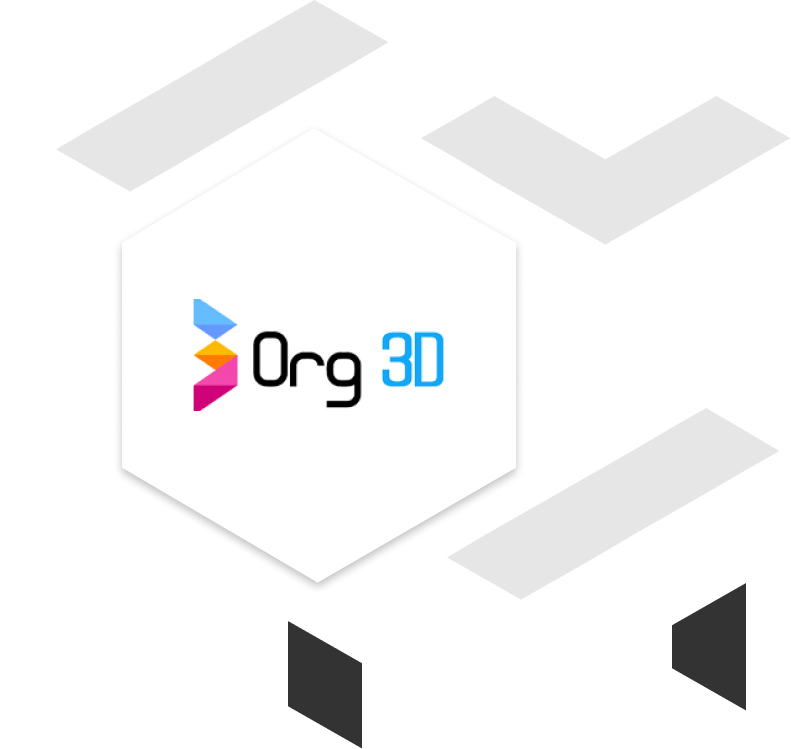 org 3d client brand logo with geometric shapes