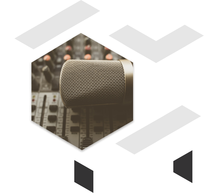 studio microphone on speaker sound set with geometric shapes picture