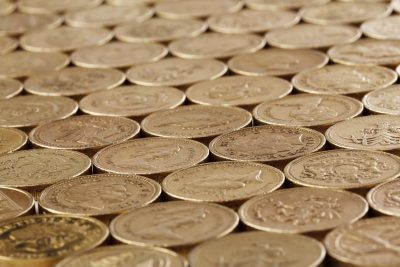 pound coins lined up