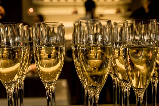 glasses containing champagne