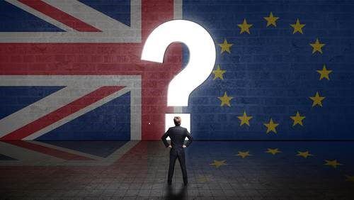 Union Jack and EU flag with question mark