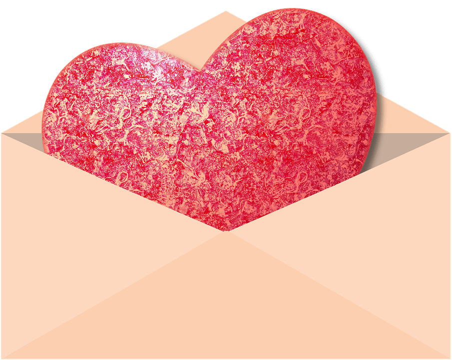Envelope containing red shaped heart