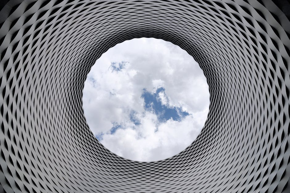 Spiral column with sky in centre