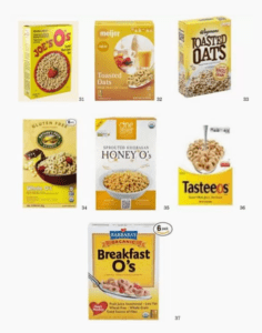 Selection of cereals in yellow packaging