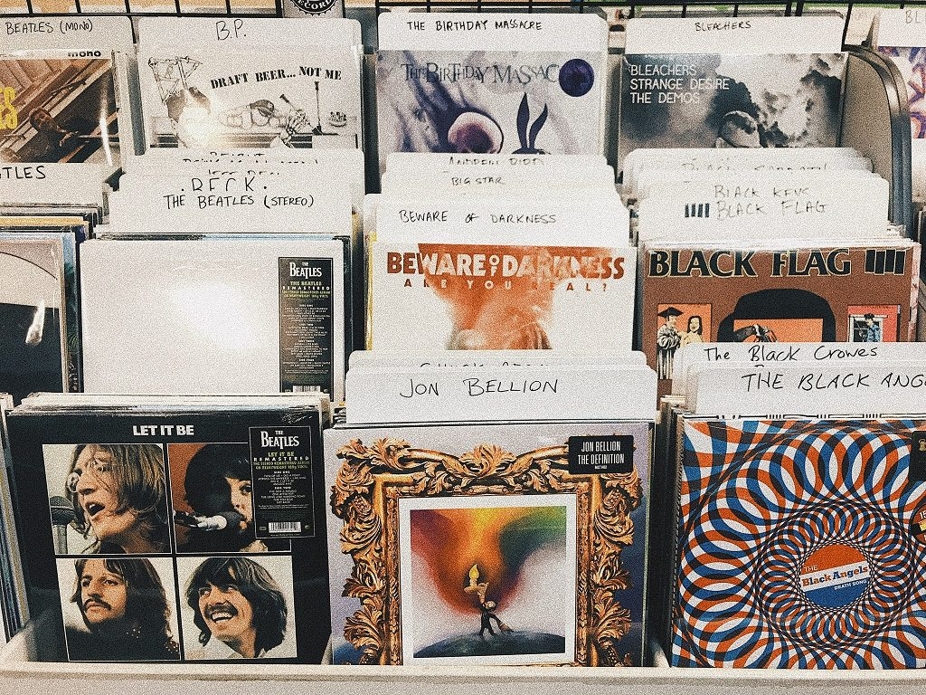 Music albums stacked in record shop
